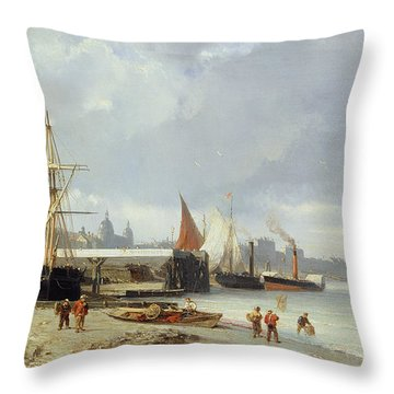 The Docks On The Bank At Greenwich  Throw Pillow