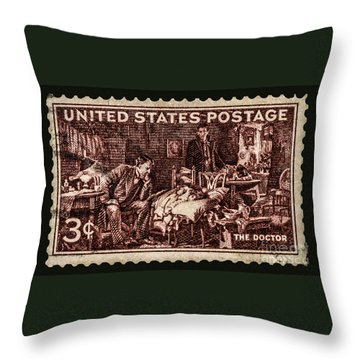 The Doctor - Concerned Physician Postage Stamp Throw Pillow by Phil Cardamone