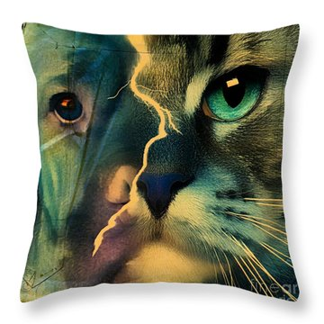 Throw Pillow featuring the digital art The Dog Connection -green by Kathy Tarochione