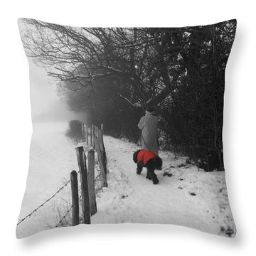 Throw Pillow featuring the photograph The Dog In The Red Coat by Vicki Spindler