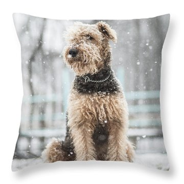 The Dog Under The Snowfall Throw Pillow