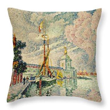 The Dogana Throw Pillow by Paul Signac