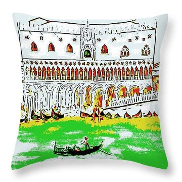 Throw Pillow featuring the painting The Doge's Palace by Loredana Messina