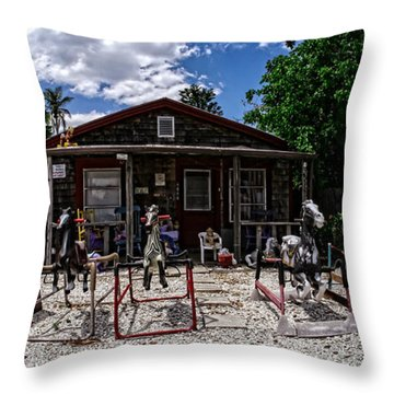 The Doll Lady Of Matlacha Throw Pillow by Edward Fielding
