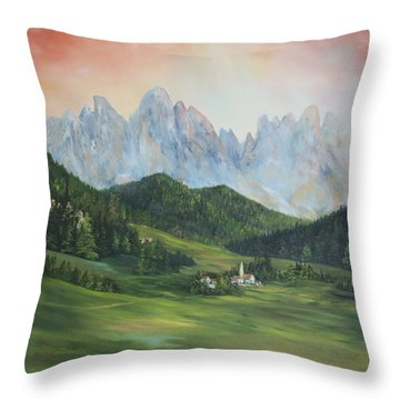 Throw Pillow featuring the painting The Dolomites Italy by Jean Walker