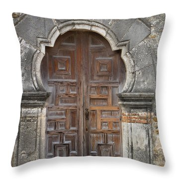 The Door Of Espada Mission  Throw Pillow