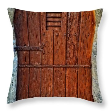 The Door - Vintage Art By Sharon Cummings Throw Pillow by Sharon Cummings