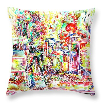 The Doors Live Concert Portrait Throw Pillow by Fabrizio Cassetta