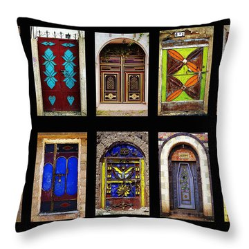 The Doors Of Yemen Throw Pillow