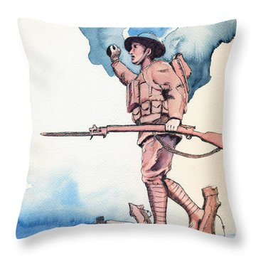 The Doughboy Stands Throw Pillow by Katherine Miller