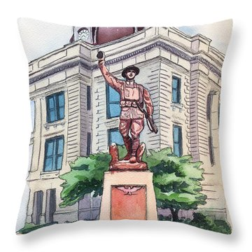 The Doughboy Statue Throw Pillow by Katherine Miller