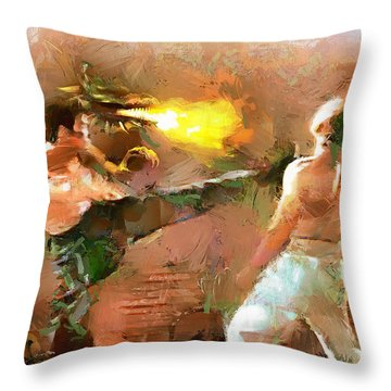 Throw Pillow featuring the painting The Dragon Vs Chuck - Bruce Strikes - 6 Of 7 by Wayne Pascall
