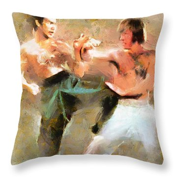 Throw Pillow featuring the painting The Dragon Vs Chuck - The Clash - 3 Of 7 by Wayne Pascall