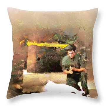 Throw Pillow featuring the painting The Dragon Vs Chuck - The End - 7 Of 7 by Wayne Pascall