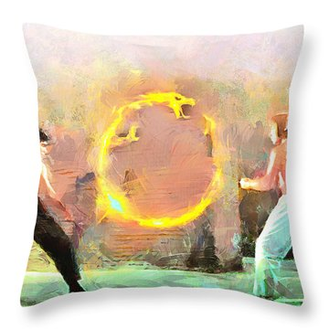 Throw Pillow featuring the painting The Dragon Vs Chuck - The Face Off - 2 Of 7 by Wayne Pascall