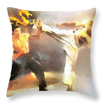 The Dragon Vs Chuck - The Block Up - 4 Of 7 Throw Pillow