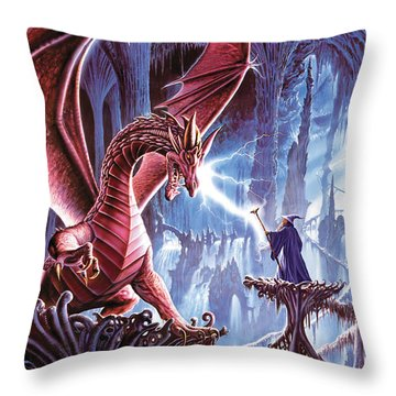 The Dragons Lair Throw Pillow