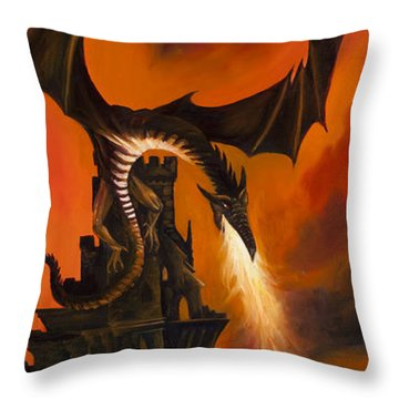 The Dragon's Tower Throw Pillow