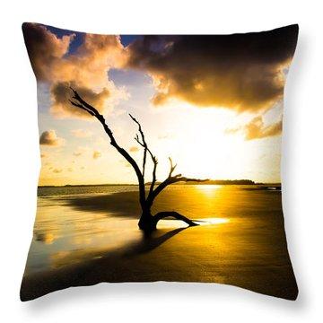 The Driftwood Tree Folly Beach Throw Pillow