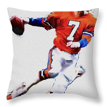The Drive  John Elway Throw Pillow by Iconic Images Art Gallery David Pucciarelli