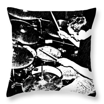 The Drummer Throw Pillow by Chris Berry