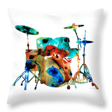 The Drums - Music Art By Sharon Cummings Throw Pillow by Sharon Cummings