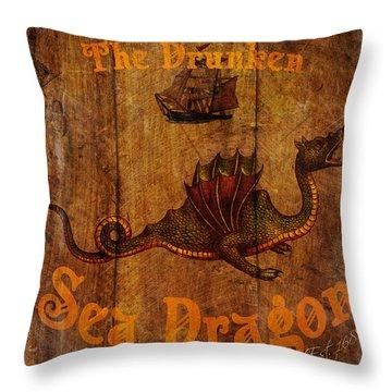 The Drunken Sea Dragon Pub Sign Throw Pillow by Cinema Photography