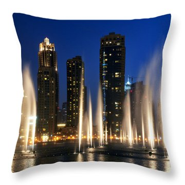 The Dubai Fountains Throw Pillow