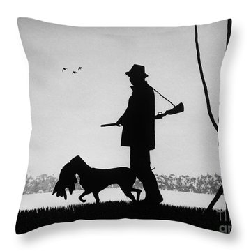 The Duck Hunter Throw Pillow by Kyle  Brock
