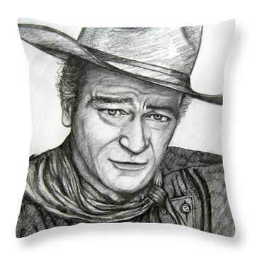 Throw Pillow featuring the drawing The Duke John Wayne by Patrice Torrillo