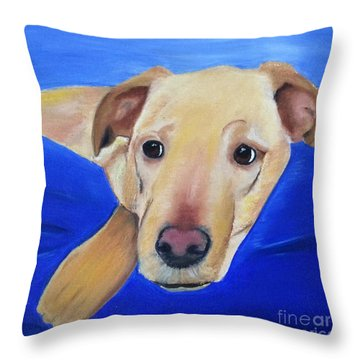 Throw Pillow featuring the painting The Duke - Pet Portrait by Shelia Kempf