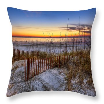 Throw Pillow featuring the photograph The Dunes At Sunset by Debra and Dave Vanderlaan