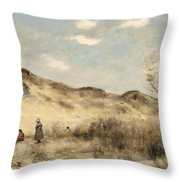 The Dunes Of Dunkirk Throw Pillow by Jean Baptiste Camille Corot