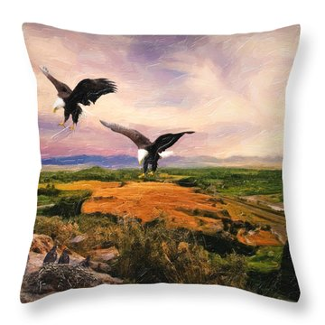 Throw Pillow featuring the digital art The Eagle Will Rise Again by Lianne Schneider