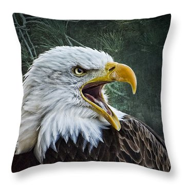 Throw Pillow featuring the photograph The Eagle's Cry by Brian Tarr