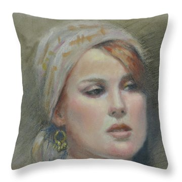 The Earring Throw Pillow by Sarah Parks