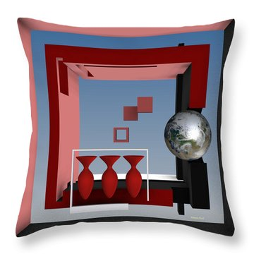 The Earth And Three Red Vases Throw Pillow