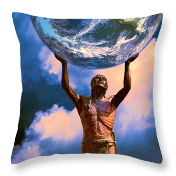 The Earth Is In Our Hands Throw Pillow