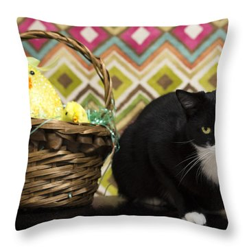 The Easter Tiggy Throw Pillow by Nick Kirby