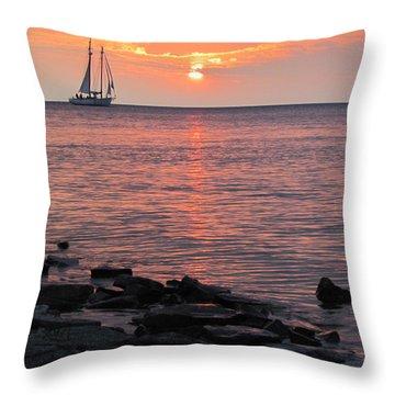 The Edith Becker Sunset Cruise Throw Pillow