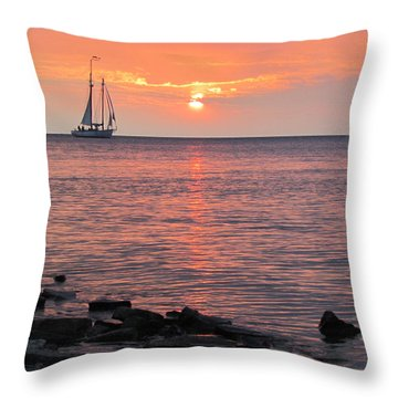 The Edith Becker Sunset Cruise Throw Pillow