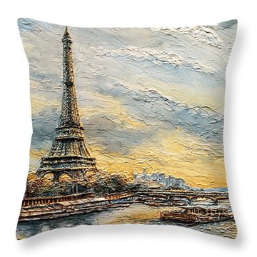 The Eiffel Tower- From The River Seine Throw Pillow
