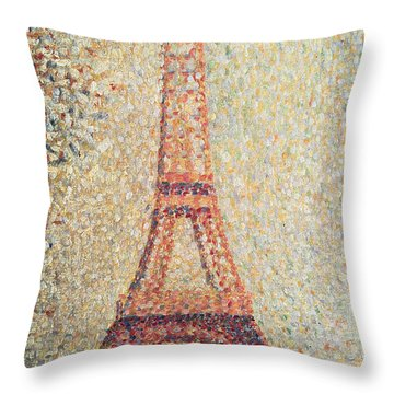 The Eiffel Tower Throw Pillow by Georges Pierre Seurat