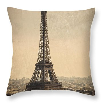 The Eiffel Tower In Paris France Throw Pillow
