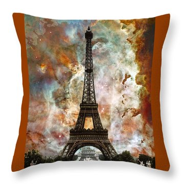 The Eiffel Tower - Paris France Art By Sharon Cummings Throw Pillow by Sharon Cummings