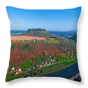 The Elbe Around The Lilienstein Throw Pillow