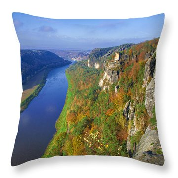 The Elbe Sandstone Mountains Along The Elbe River Throw Pillow