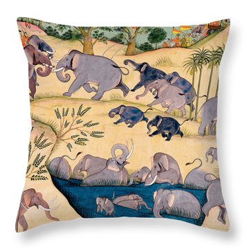 The Elephant Hunt Throw Pillow