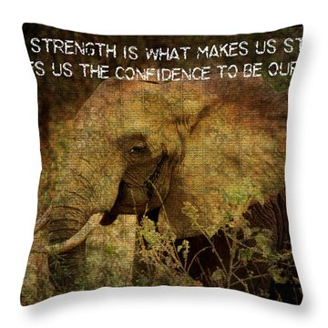 Throw Pillow featuring the digital art The Elephant - Inner Strength by Absinthe Art By Michelle LeAnn Scott