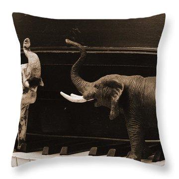 The Elephant Walk Throw Pillow
